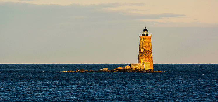 Whaleback Lighthouse at Sunset by Nancy De Flon