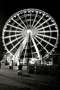 Wheel of Manchester - Black and White by Doc Braham