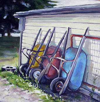 Wheelbarrows Behind the Shed by Renee Peterson
