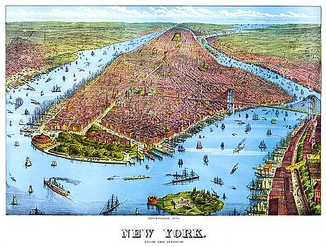 When New York was flat, vintage map, 1879 by Vintage Printery