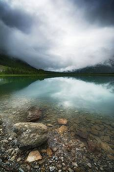 When Spray Lake Clouds Over by Karl Anderson