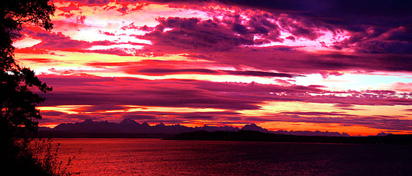 Whidbey Red Sky Morning by Mary Gaines