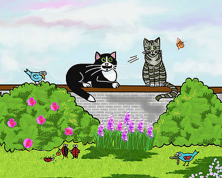 Whimsical Cats Sitting on a Wall in a Sunny Garden by Frances Gillotti