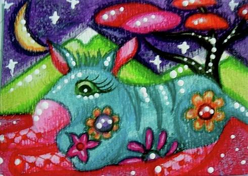 Whimsical Donkey with Mountain Landscape by Monica Resinger