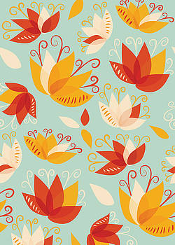 Whimsical Floral Pattern Of Abstract Lilies by Boriana Giormova