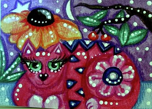 Whimsical Kitty Cat with Black Eyed Susan by Monica Resinger