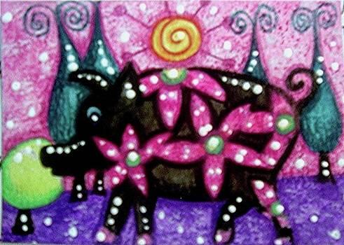Whimsical Pig by Monica Resinger