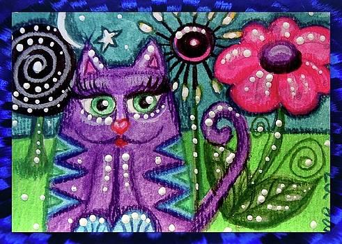 Whimsical Purple Kitty Cat by Monica Resinger