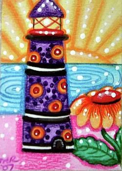 Whimsical Purple Lighthouse by Monica Resinger