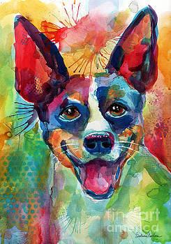 Svetlana Novikova - Whimsical Rat Terrier Dog painting