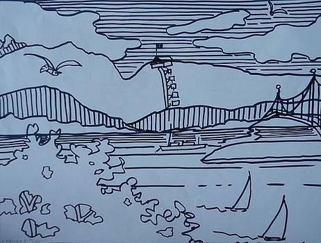 Whimsical Sketch, English Bay, Vancouver, B C by Catherine Robertson