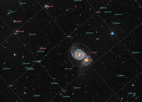 Whirlpool Galaxy in constellation Canes Venatici, picture with annotation by Lukasz Szczepanski