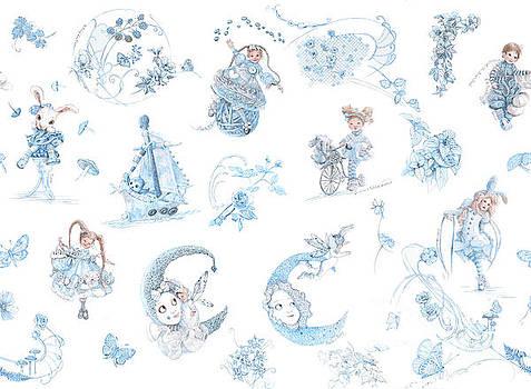 Whispering Daydreams Toile de Jouy in Blue and Brown by Nancy Lee Moran