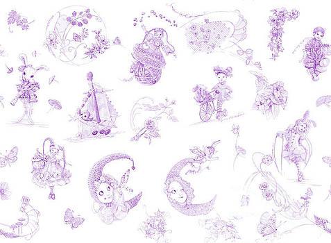 Whispering Daydreams Toile de Jouy in Lavender by Nancy Lee Moran