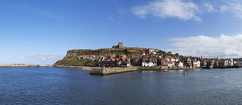 Whitby Harbour with Abbey ruins by Gillian Dernie