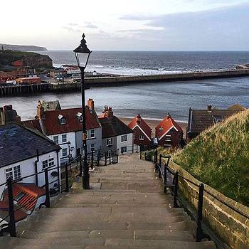 Whitby Steps Leading Down From The by Rebecca Bromwich