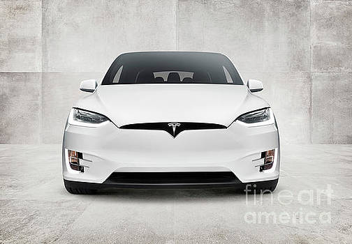 White 2017 Tesla Model X electric car front view by Oleksiy Maksymenko