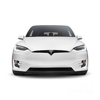 White 2017 Tesla Model X luxury SUV electric car front isolated art photo print by Oleksiy Maksymenko