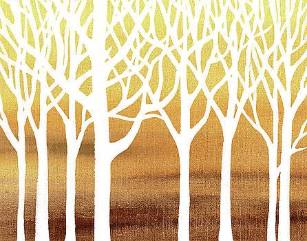 White Abstract Forest Beige Background Interior Decor by Irina Sztukowski
