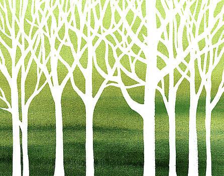 White Abstract Forest Green Background Interior Decor by Irina Sztukowski