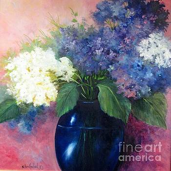 White and Blue Hydrangeas by Barbara Haviland