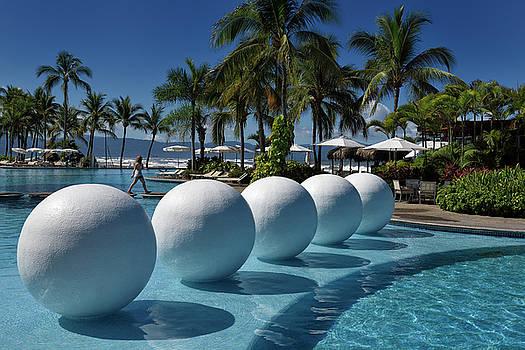 Reimar Gaertner - White balls in resort pool of Vidanta in Nuevo Vallarta Mexcio