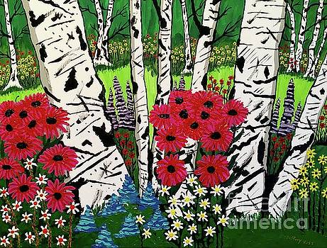 White Birch Flower Garden by Jeffrey Koss