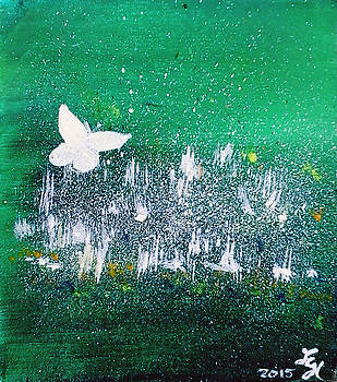 White Butterfly in clover blooms by Loretta Nash