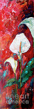 Ginette Callaway - White Calla Lilies Oil Painting