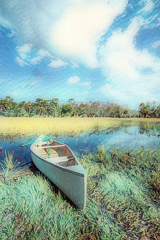 White Canoe in Gentle Colors Painting by Debra and Dave Vanderlaan