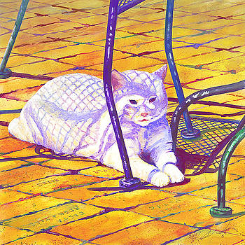 White Cat On Patio by Connie Williams