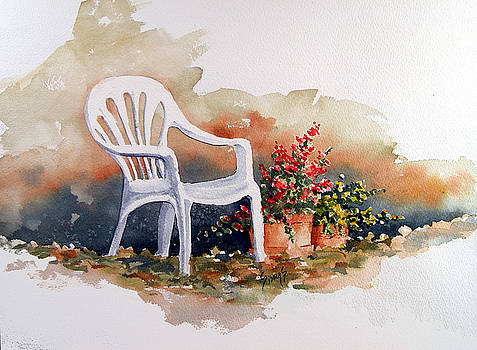 Sam Sidders - White Chair with Flower Pots