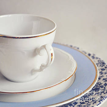 White china cup, saucer and plates by Lyn Randle