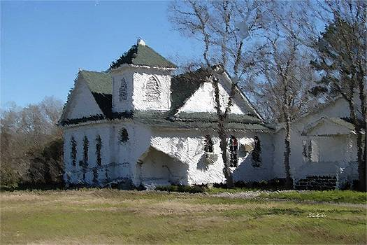 White Church Near the Lake by Russell Owens