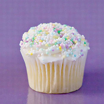 Art Block Collections - White Cupcake on Purple