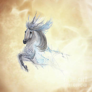 White dancing horse by Angel Ciesniarska