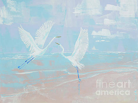 White Egrets on Pink Sand by Paola Correa de Albury