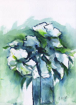 White Flowers Abstract by Frank Bright