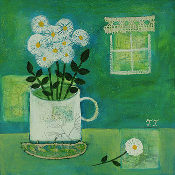 White Flowers in a Vintage Mug by Teodora Totorean