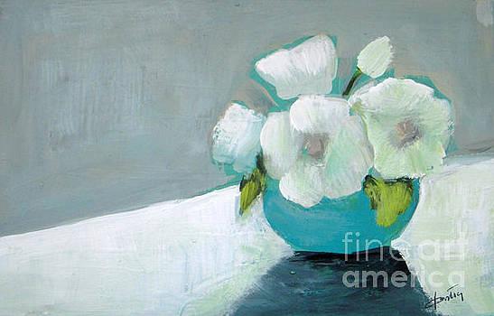 White Flowers in Blue Vase by Vesna Antic