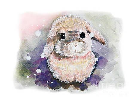 White fluffy rabbit.Watercolor hand drawing by Rasirote Buakeeree