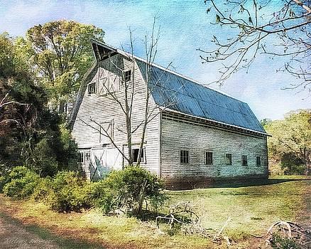 White Grey Weathered Barn North Carolina Countryside by Melissa Bittinger