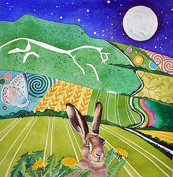 White horse brown hare by Jane Tomlinson