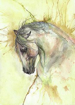 White horse on golden background 2017 06 02 by Angel Tarantella