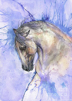 White horse on purple background 2017 06 02 by Angel Tarantella