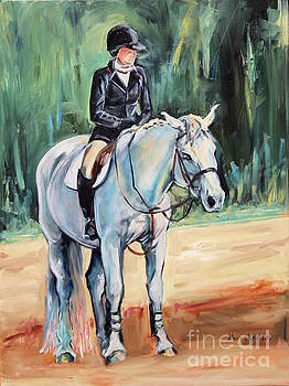 White Horse with rider  by Maria's Watercolor