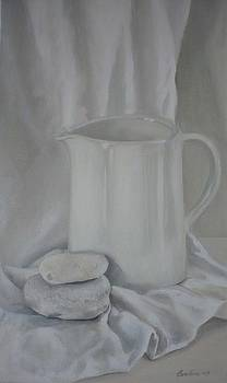 White Jug and Pebbles by Caroline Philp
