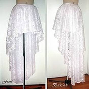 Sofia Metal Queen - White lace high low skirt. Ameynra fashion 2012