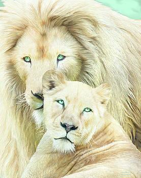 White Lion Family - Mates by Carol Cavalaris