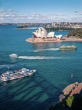 White pearl of Sydney Opera House in the blue waters of Sydney Harbour by Daniela Constantinescu